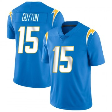 Youth Nike Los Angeles Chargers Jalen Guyton Blue Powder Vapor Untouchable Alternate Jersey - Limited