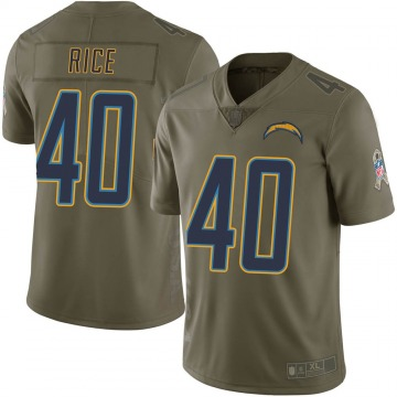 Youth Nike Los Angeles Chargers Jared Rice Green 2017 Salute to Service Jersey - Limited