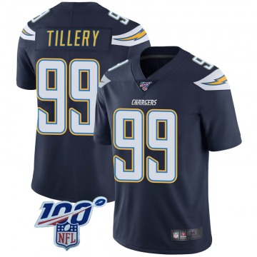 Youth Nike Los Angeles Chargers Jerry Tillery Navy 100th Vapor Jersey - Limited