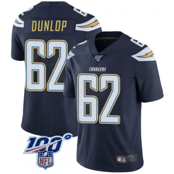 Youth Nike Los Angeles Chargers Josh Dunlop Navy 100th Vapor Jersey - Limited