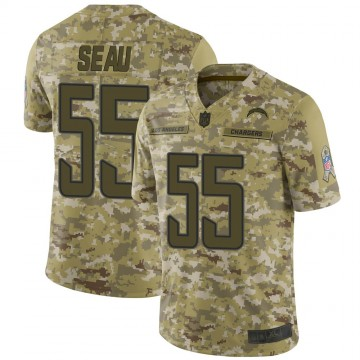 Youth Nike Los Angeles Chargers Junior Seau Camo 2018 Salute to Service Jersey - Limited