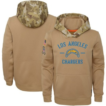 Youth Nike Los Angeles Chargers Khaki 2019 Salute to Service Therma Pullover Hoodie -