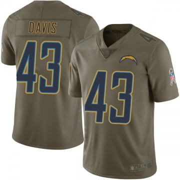 Youth Nike Los Angeles Chargers Michael Davis Green 2017 Salute to Service Jersey - Limited