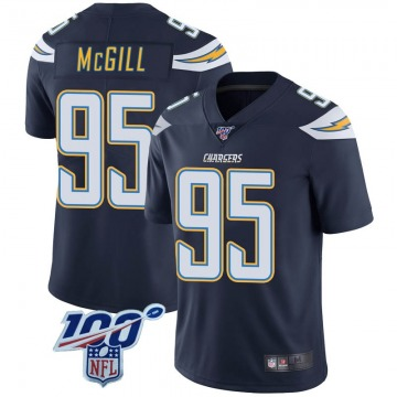 Youth Nike Los Angeles Chargers T.Y. McGill Navy 100th Vapor Jersey - Limited